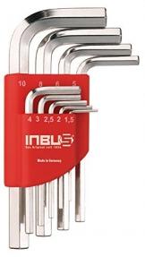 INBUS® 70150 Inbusschlüssel Set / Satz Kurz Metrisch 9tlg. 1,5-10mm | Made in Germany| Innensechskantschlüssel | Winkelschlüssel | 1,5mm | 2mm | 2,5mm | 3mm | 4mm | 5mm | 6mm | 8mm | 10mm | Kurze Ausführung - 1