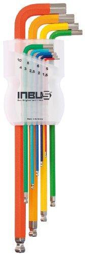INBUS® 70266 Inbusschlüssel Satz Farbcodiert mit Kugelkopf Metrisch 9tlg. 1,5-10mm | Made in Germany | Innensechskantschlüssel | Winkelschlüssel | 1,5mm | 2mm | 2,5mm | 3mm | 4mm | 5mm | 6mm | 8mm | 10mm | bunt | farbig - 1