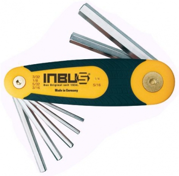 """INBUS® 70402 Inbusschlüssel Zoll Set / Satz im Klapphalter 6tlg. 3/32-5/16""""   Made in Germany   Innensechskantschlüssel   Winkelschlüssel   3/32   1/8   5/32   3/16   1/4   5/16   Inch   Imperial - 1"""