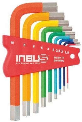 Original INBUS® Schlüssel Set / Satz farbcodiert kurz bunt 9tlg. 1,5-10mm | Made in Germany | Innensechskantschlüssel | Winkelschlüssel | 1,5mm | 2mm | 2,5mm | 3mm | 4mm | 5mm | 6mm | 8mm | 10mm | bunt | farbig | Design | Kurze Ausführung - 1