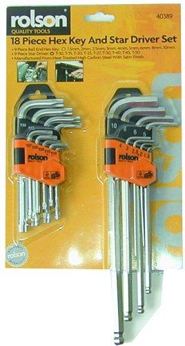 Rolson Tools Winkelschlüssel mit Kugelkopf und Torx 18tlg.