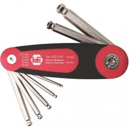 Sechskant Stiftschlüssel mit Kugelkopf im Klapphalter Serie 472 7-teilig - 1