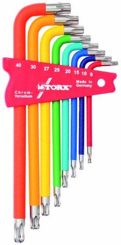 TORX® 70587 Winkel Schraubendreher Satz / Set Farbcodiert mit Kugelkopf 8tlg. TX 9-40 | Made in Germany | Torxschlüsselsatz | Schraubenschlüssel | T9 | T10 | T15 | T20 | T25 | T27 | T30 | T40 | TX | bunt | farbig | für Torx Schrauben - 1